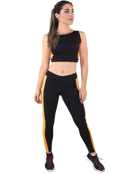Conjunto Fitness Calça Legging + Cropped Preto e Amarelo REF: LX037