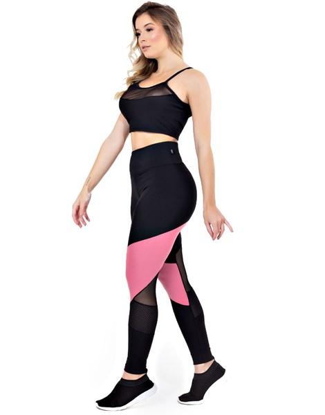 Conjunto Fitness Calça Legging Detalhe Rosê Cropped Detalhe Busto REF: LX124