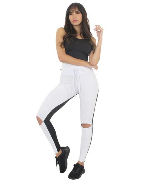 Conjunto Fitness Calça Legging Preto Branco Com Rasgo no Joelho e Cropped Preto REF: LX195