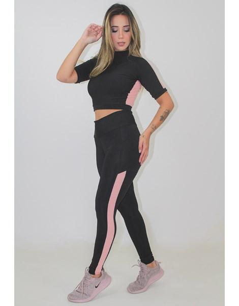 Conjunto Fitness Calça Legging Preto Detalhe Rosê Cropped 2 Cores REF: LX125