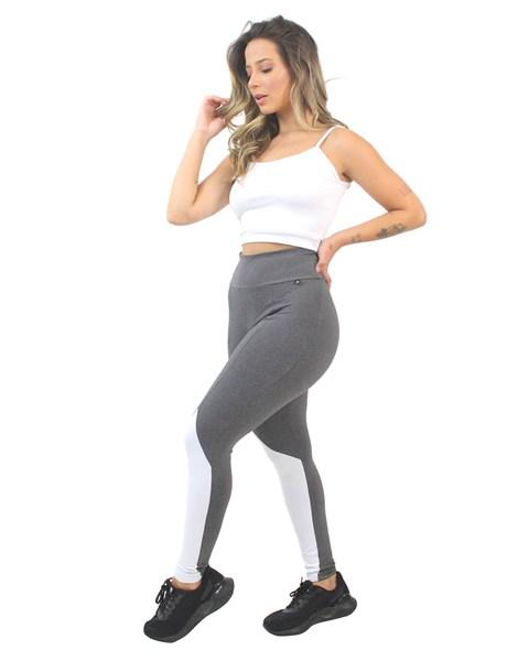 Conjunto Fitness Cropped Alcinha Branco e Legging Mescla com Branco REF: LX179