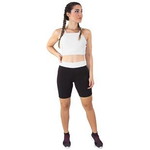 Conjunto Fitness Cropped Alcinha Branco + Shorts Preto Com Branco REF: LX048