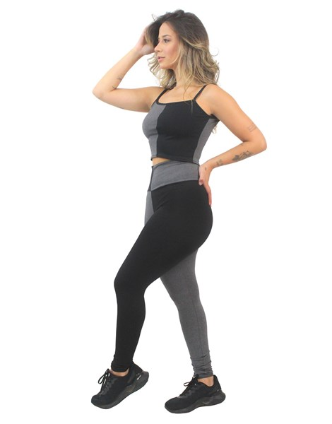 Conjunto Fitness Cropped Alcinha e Calça Legging Preto e Mescla REF: LX162