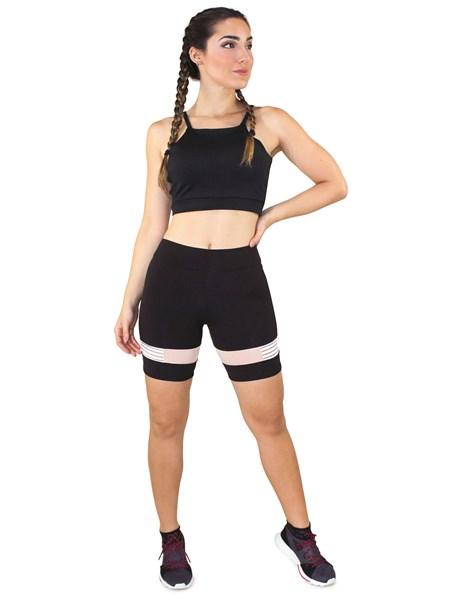 Conjunto Fitness Cropped Alcinha Preto + Shorts Preto Com Elastico REF: LX047