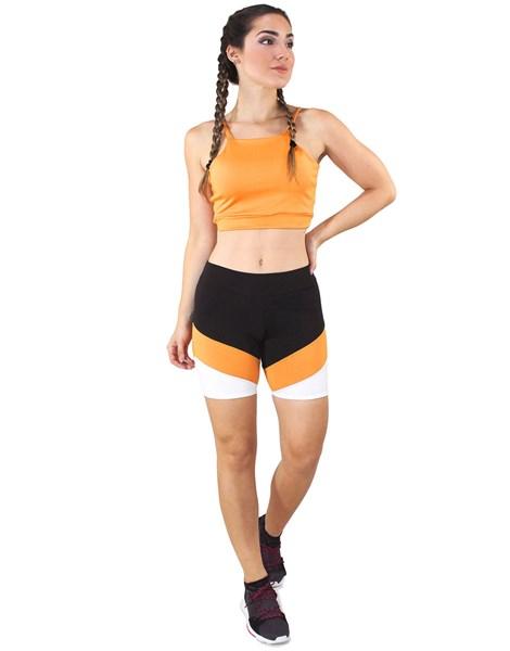 Conjunto Fitness Cropped Amarelo + Shorts Com Faixas Preto Com Branco e Amarelo REF: LX051