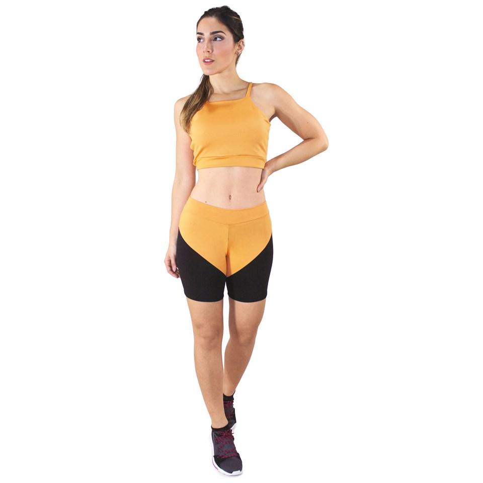 Conjunto Fitness Cropped Amarelo + Shorts Preto Com Amarelo REF: LX046