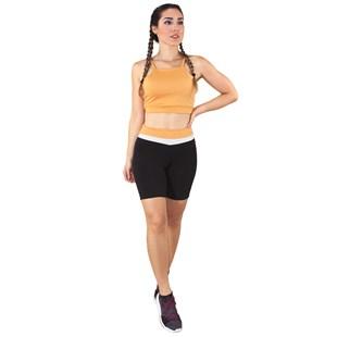 Conjunto Fitness Cropped Amarelo + Shorts Preto Com Branco e Amarelo REF: LX050