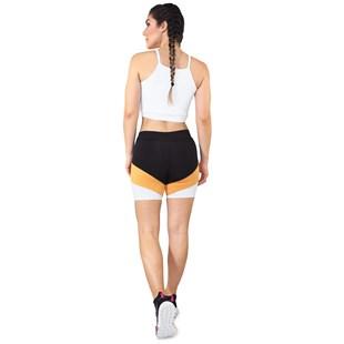 Conjunto Fitness Cropped Branco Alcinha + Short Fitness Preto Com Faixa Amarelo e Branco REF: LX071