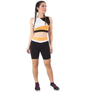 Conjunto Fitness Cropped Branco Amarelo Preto + Shorts Preto Com Branco e Amarelo REF: LX049