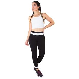 Conjunto Fitness Cropped Branco + Calça Fitness Preto Com Branco REF: LX055