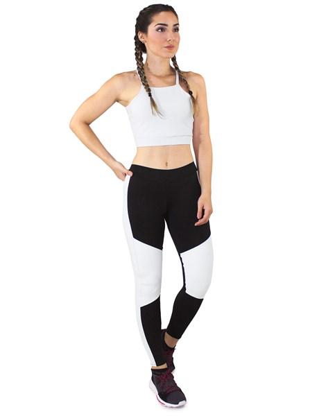 Conjunto Fitness Cropped Branco + Calça Fitness Preto Com Detalhe Branco REF: LX057