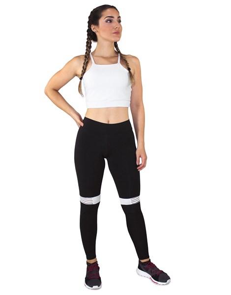 Conjunto Fitness Cropped Branco + Calça Fitness Preto Com Listra Branco REF: LX056