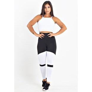 Conjunto Fitness Cropped Branco + Calça Legging Fitness Preto Com Branco REF: LX054