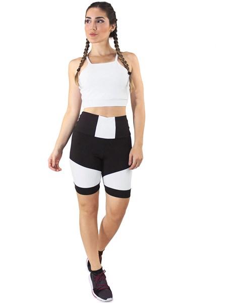 Conjunto Fitness Cropped Branco + Shorts Preto Com Branco REF: LX053
