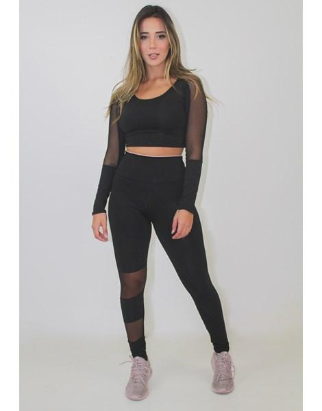 Conjunto Fitness Cropped Calça Legging Detalhe Transparente REF: LX84