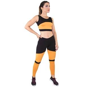 Conjunto Fitness Cropped + Calça Legging Preto Com Amarelo REF: LX042