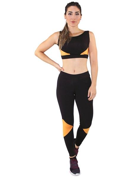 Conjunto Fitness Cropped + Calça Legging Preto e Amarelo REF: LX036