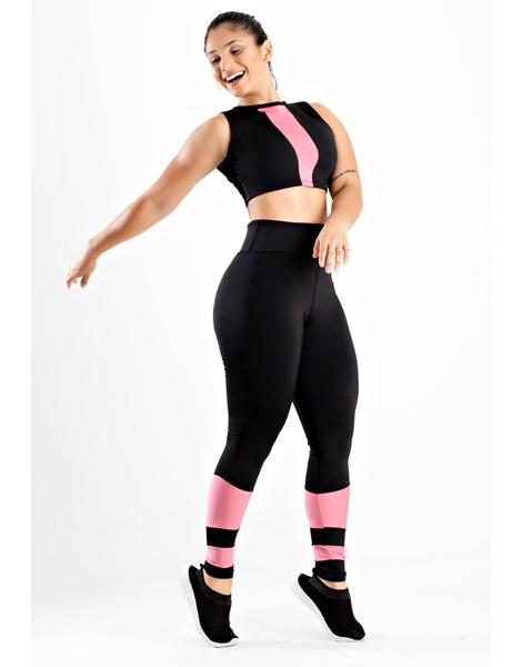 Conjunto Fitness Cropped Com Detalhe e Calça Legging Preto Rosê REF: LX89