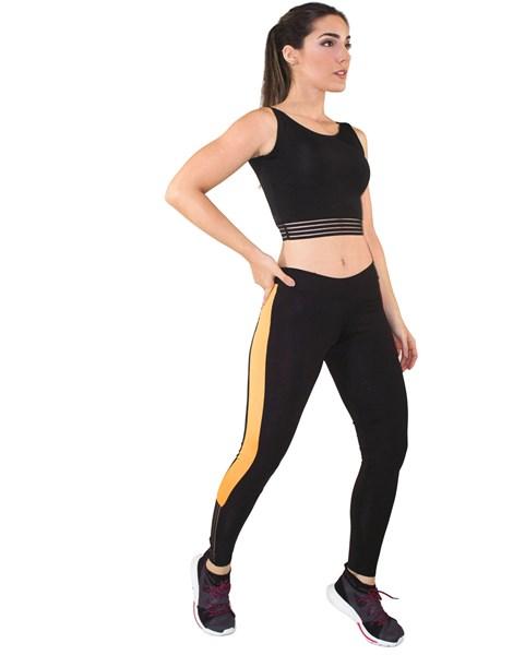 Conjunto Fitness Cropped Com Elástico + Calça Legging Preto e Amarelo REF: LX038