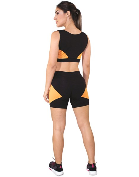 Conjunto Fitness Cropped Com Faixa Amarelo + Shorts Preto Com Amarelo REF: LX045