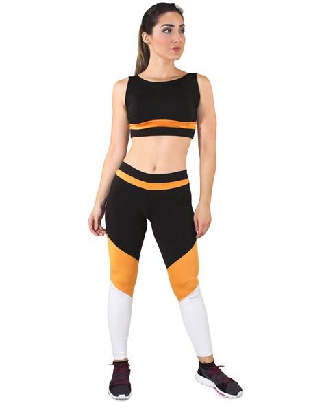 Conjunto Fitness Cropped Com Faixa + Calça Legging Preto Com Amarelo e Branco REF: LX041
