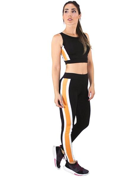 Conjunto Fitness Cropped Com Faixas + Calça Legging Preto Com Amarelo e Branco REF: LX039