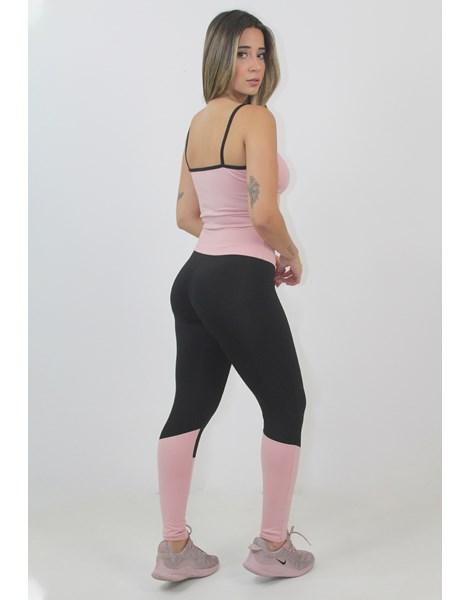 Conjunto Fitness Cropped Detalhe Decote e Calça Legging Preto e Rosê REF: LX95