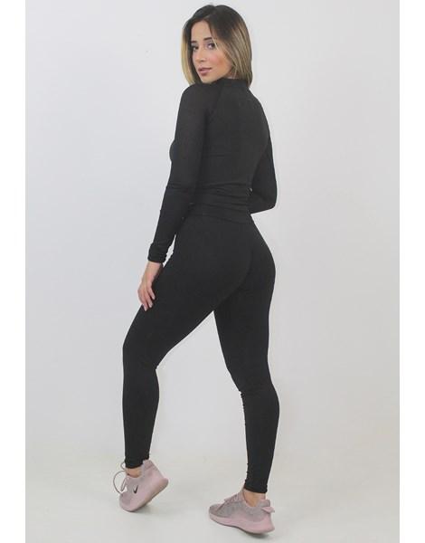 Conjunto Fitness Cropped Manga Longa e Calça Legging Deluxe REF: LX106