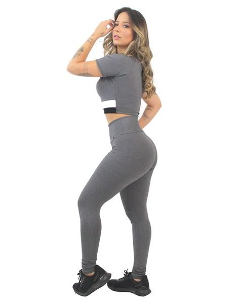 Conjunto Fitness Cropped Mescla com Legging Lisa REF: LX169