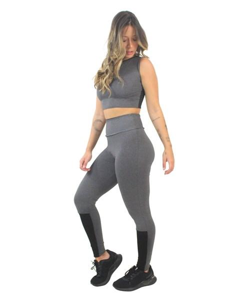 Conjunto Fitness Cropped Mescla e Calça Legging Mescla Detalhe Preto REF: LX164