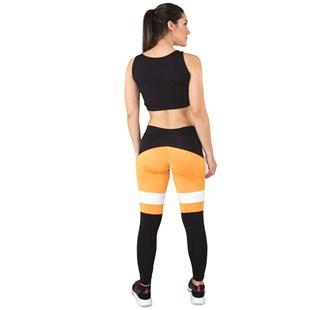 Conjunto Fitness Cropped Mosaico + Calça Legging Preto Com Amarelo e Branco REF: LX040