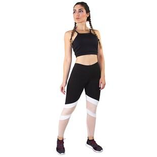 Conjunto Fitness Cropped Preto + Calça Fitness Preto Com Faixas Branca e Rosê REF: LX066