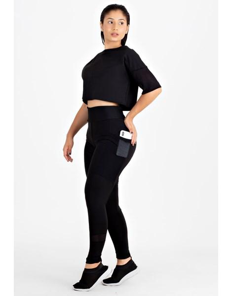 Conjunto Fitness Cropped Preto + Calça Legging com Bolso Tela REF: LX81