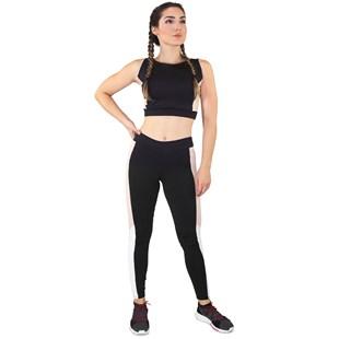 Conjunto Fitness Cropped Preto Faixa Chocolate + Calça Fitness Preto Com Faixa Chocolate  REF: LX069