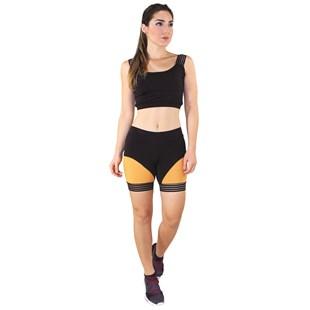Conjunto Fitness Cropped Preto Faixa Elástico + Short Fitness Preto Com Faixa Amarelo REF: LX070