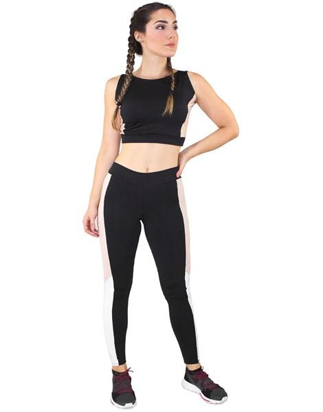 Conjunto Fitness Cropped Preto Faixa Rosê + Calça Fitness Preto Com Faixa Rosê REF: LX069