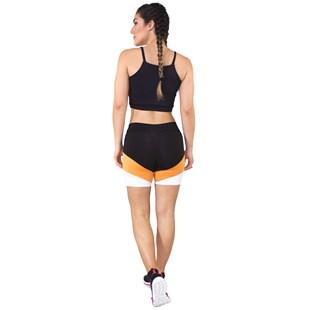 Conjunto Fitness Cropped Preto + Shorts Com Faixas Preto Com Branco e Amarelo REF: LX052