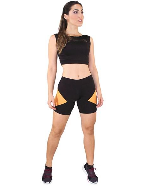 Conjunto Fitness Cropped Regata Com Faixa + Short Preto Com Amarelo REF: LX044