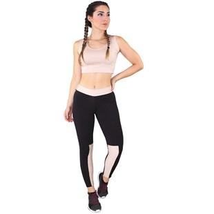 Conjunto Fitness Cropped Rosê + Calça Fitness Preto Com Detalhe Rosê REF: LX067
