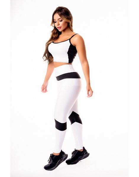 Conjunto Fitness Feminino Calça Legging Branca com Preto Cintura Alta e Cropped Alcinha Academia REF: CSV25