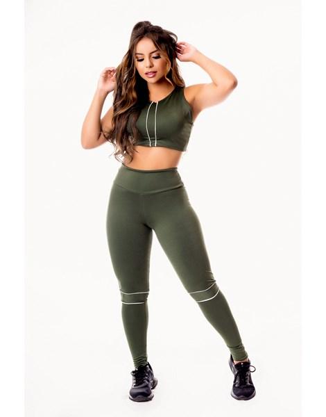 Conjunto Fitness Feminino Calça Legging Cintura Alta e Cropped Regata com Detalhes em Vivo Branco Academia REF: CSV2