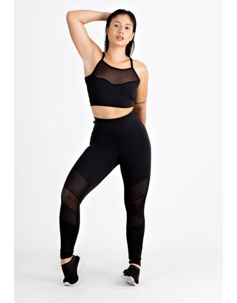 Conjunto Fitness Feminino Calça Legging e Top Transparencia REF: LX128