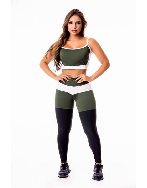 Conjunto Fitness Feminino Calça Legging Levanta Bumbum Preta com Verde Militar e Branco Cintura Alta e Cropped Alcinha Academia REF: CSV17