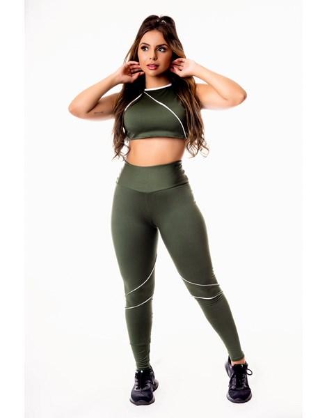 Conjunto Fitness Feminino Calça Legging Verde Militar Cintura Alta e Cropped Gola Alta com Detalhes em Vivo Branco Academia REF: CSV9