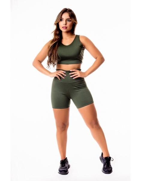 Conjunto Fitness Feminino Short Cintura Alta e Cropped Regata Verde Militar Academia REF: CSV22