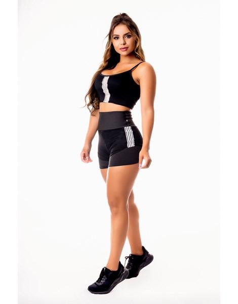 Conjunto Fitness Feminino Short Preto Cintura Alta e Cropped Alcinha com Detalhes em Tela Dry Fit Academia REF: CSV4