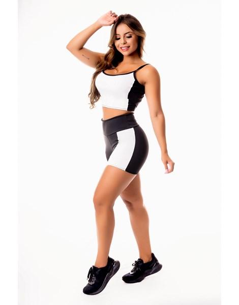 Conjunto Fitness Feminino Short Preto com Branco Cintura Alta e Cropped Alcinha Academia REF: CSV24