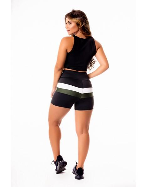 Conjunto Fitness Feminino Short Preto com Branco e Verde Militar Cintura Alta e Cropped Regata Preto com Verde e Branco Academia REF: CSV28