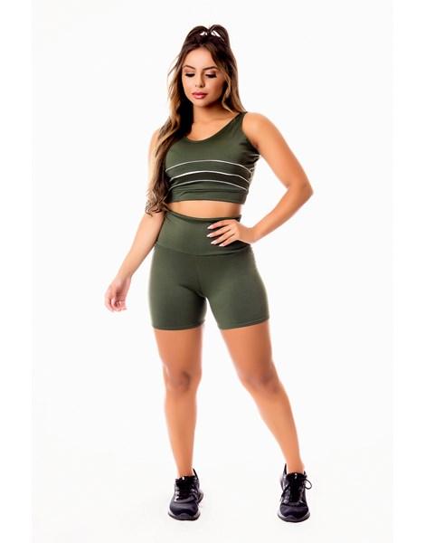 Conjunto Fitness Feminino Short Verde Militar Cintura Alta e Cropped Regata com Detalhes em Vivo Branco Academia REF: CSV12