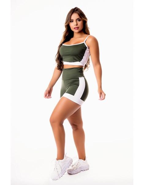 Conjunto Fitness Feminino Short Verde Militar com Branco Cintura Alta e Cropped Alcinha Academia REF: CSV16